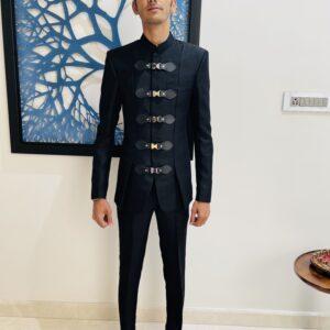 Black Terry Wool Designer Jodhpuri suit
