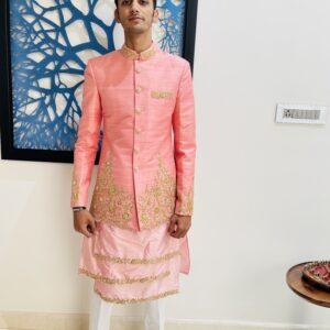 Pink Zardosi embroidered raw silk sherwani.