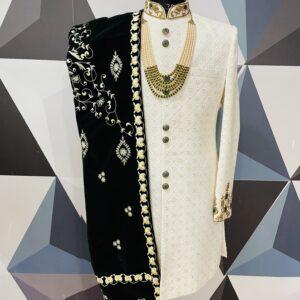 Off white chickankari and zardosi embroidered wedding sherwani