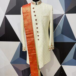 white chickankari and zardosi embroidered wedding sherwani