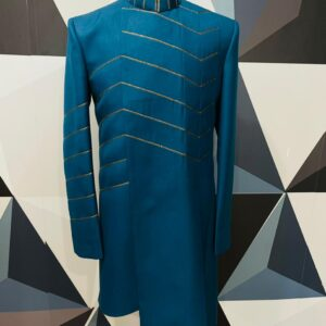 Turquoise Blue Zari Embroidered Indo Western Sherwani