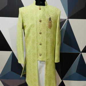 Lemon green chickankari sherwani