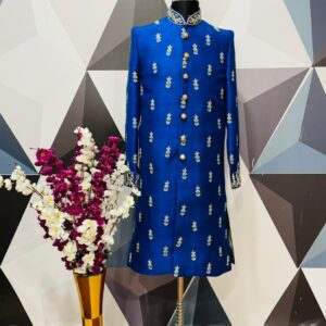 Blue Zardosi Embroidered raw silk sherwani