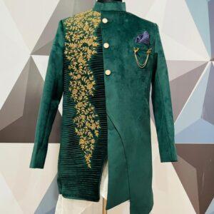 Bottle Green Zardosi Embroidered Velvet Sherwani.