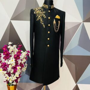 Black zardosi embroidered raw silk wedding sherwani