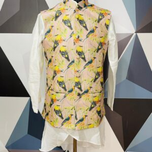 Beige color bird printed Nehru Jacket